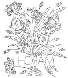 March flower bouquet (daffodil) - embroidery pattern