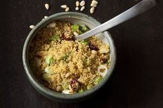 saffron couscous with pine nuts and dried cranberries