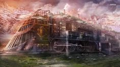 Steampunk train wallpaper