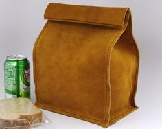 Leather Lunch Bag  Large  It's fun it's by HomesteadLeatherWrks, $47.00