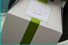 Personalized gift boxes for each guest by New England Invitations