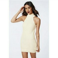 Bodycon white cream tunic knit dress turtleneck New without tags .. SIZE Large Dresses