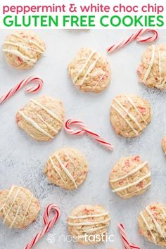 gluten free white chocolate chip cookies with peppermint and crushed candy canes! Perfect holiday cookies for Christmas and easy to make. Easy Gluten Free Desserts, Gluten Free Cookie Recipes, Gluten Free Cakes, Gluten Free Baking, Vegan Desserts, Gluten Free Christmas Cookies, Holiday Cookies, White Chocolate Chip Cookies, Chocolate Candies