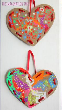 The Imagination Tree - Cardboard Lacing Hearts Valentine's Day Crafts For Kids, Valentine Crafts For Kids, Valentines Day Hearts, Valentines Day Decorations, Valentines For Kids, Toddler Crafts, Preschool Crafts, Homemade Valentines, Valentine Box