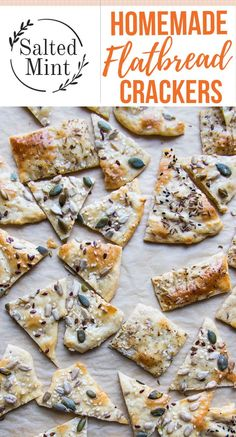 Easy healthy and homemade flatbread crackers are topped with seeds and sea salt so that they are savoury and the perfect pairing with cheese. #crackers #easyrecipe #snack #healthysnack