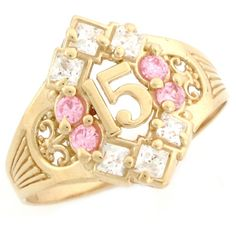 10k Yellow Gold Pink CZ Celebration Quinceanera 15 Anos Ring