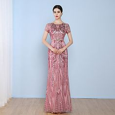 Formal Evening Dress Sheath / Column Jewel Floor-length Tulle / Sequined with Sequins – USD $ 99.99