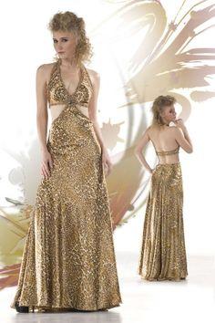 Halter Long/Floor-length Crystal Backless Prom Dress PD11D3