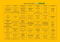 menu fase ataque abcdukan Light Recipes, Clean Recipes, Organic Recipes, Low Carb Meal Plan, Diet Meal Plans, Menu Dieta, Most Effective Diet, Weight Loss Chart, Cooking