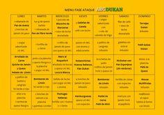 menu fase ataque abcdukan Menu Dukan, Menu Dieta, Dukan Diet, Light Recipes, Clean Recipes, Organic Recipes, Weight Loss Chart, Most Effective Diet, Diets