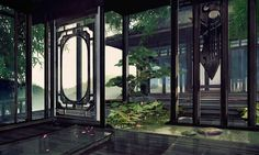 Haulé's home in Teon Wu. Chinese Garden, Chinese Art, Fantasy Landscape, Fantasy Art, Scenery Background, Fantasy Places, Chinese Architecture, Anime Scenery, Ancient Art