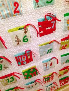 """Advent calendar with great list of non-edible """"treats""""... This is on my list to do by next Christmas. Is there any fabric line that pre prints the 1-25 date pockets? Sure would make it easier"""