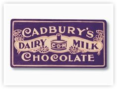 The first purple and gold Cadbury Dairy Milk packaging design. It was…