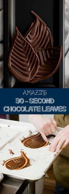 Perfect your dessert decorations with this quick and easy chocolate recipe -Amazing 30 Second Chocolate Leaves! You just need tempered chocolate poured on a parchment paper. For more simple baking desserts recipes and homemade sweet treats, check us out at #cupcakeproject. #desserts #yummydesserts #recipeoftheday #sweettooth