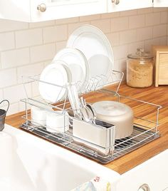 Dry your dishes in a more convenient way with this space-saving Stainless Steel 2-Tier Dish Rack. The two levels allow you to stack more dishes in a limited spa