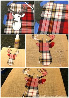 diy deer art, crafts, how to Plaid Christmas, Rustic Christmas, Winter Christmas, Christmas Holidays, Christmas Decorations, Xmas, Christmas Canvas, Christmas Wrapping, Christmas Projects