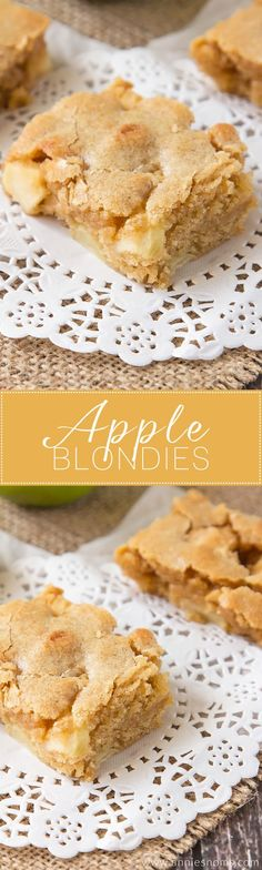 Soft, chewy Apple Blondies filled with spices and plenty of apple! Once baked, the apples get soft and tender and explode in your mouth. And with that typical flaky, crunchy topping you get on blondies, there& no better Autumnal blondie you could make! Apple Desserts, Apple Recipes, Just Desserts, Fall Recipes, Sweet Recipes, Baking Recipes, Delicious Desserts, Dessert Recipes, Yummy Food