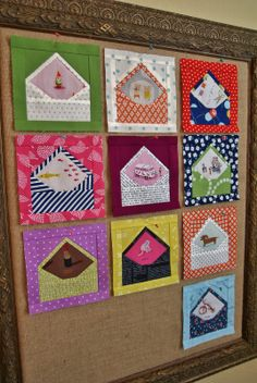 Love the envelop quilt blocks from the book Patchwork Please. (I love snail mail!)
