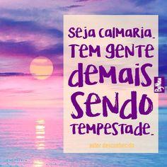 """""""Seja calmaria. Tem gente demais sendo tempestade."""" E sendo tempestade em copo d'água... Tô fora! #autordesconhecido #menosdrama #menosmimimi #paz #frases #tempestade #pessoas #instabynina"""