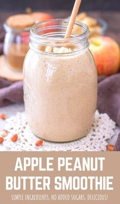 Peanutbutter Smoothie Recipes, Apple Smoothie Recipes, Smoothie Recipes For Kids, Peanut Butter Smoothie, Breakfast Smoothie Recipes, Peanut Butter Protein, Healthy Smoothies, Best Breakfast Recipes, Shake Recipes