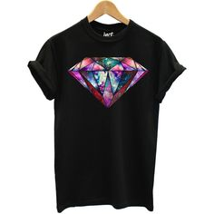 Galaxy Diamond T Shirt Fashion Hipster Space Tumblr Printed Design Top... ($15) ❤ liked on Polyvore featuring tops, t-shirts, galaxy print top, galaxy t shirt, nebula t shirt, diamond tops and galaxy print t shirt