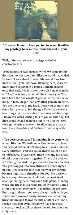 This man got a divorce after a 20 year marriage, what he says in a letter to her after the fact....