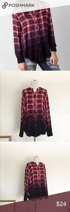 Anthro Ombré Flannel Ombré plaid flannel top from Anthropologie. Super soft & comfy. Great with both jeans or leggings. Anthropologie Tops