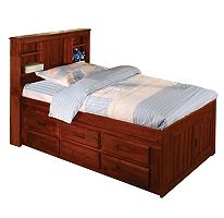 Bookcase Twin Bed - Merlot Finish
