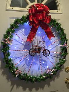 Christmas wreath made for my cyclist husband! Bicycle Crafts, Bike Craft, Bicycle Decor, Holiday Wreaths, Holiday Crafts, Home Crafts, Holiday Decor, Christmas Store, Christmas Crafts