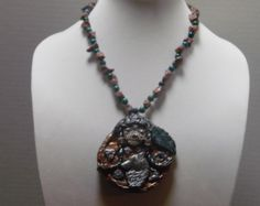 Hand Crafted XL Polymer Clay Ethnic Indian Goddess Wolf Statement Necklace…