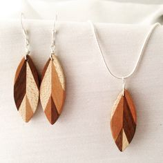 Contemporary Leaf Upcycled Dangle Wood Earrings made from holly, walnut and pear woods. Jewelry, Jewellery, Cornwall UK https://www.etsy.com/uk/listing/276380434/handmade-geometric-leaf-wooden-dangle