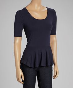 Look at this Navy Scoop Neck Peplum Top on #zulily today!