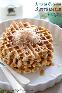 Toasted Coconut Buttermilk Waffles are crispy, and fluffy and the best way to start your weekend!