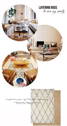 layering rugs: fun pattern + neutral jute rug = texture and depth