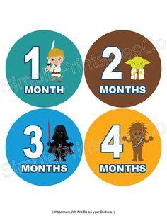 Set of 12 Month Boy Star Wars Like Collection Stickers Baby Art Crafts, Next Children, Star Wars Crafts, Baby Month Stickers, Star Nursery, Star Wars Baby, Niece And Nephew, Baby Month By Month, Baby Fever