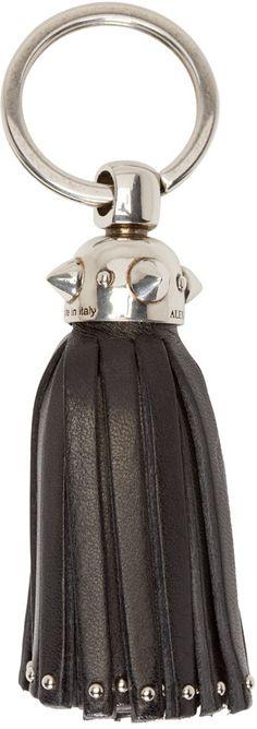 Alexander McQueen - Black Leather Tassel Keychain