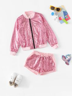 Girls Zip Up Sequin Jacket & Shorts Set -SheIn(Sheinside) Girls Fashion Clothes, Girl Fashion, Family Outfits, Kids Outfits, Turquoise Flower Girl Dress, Barbie Chelsea Doll, Short Infantil, Barbie Wedding Dress, Kids Dress Wear