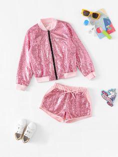 Girls Zip Up Sequin Jacket & Shorts Set -SheIn(Sheinside) Cute Girl Outfits, Family Outfits, Kids Outfits, Barbie Wedding Dress, Barbie Dress, Girls Bomber Jacket, Kids Dress Wear, Doll Clothes Barbie, Beautiful Barbie Dolls