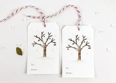 10 Christmas Tags - Berries Tree
