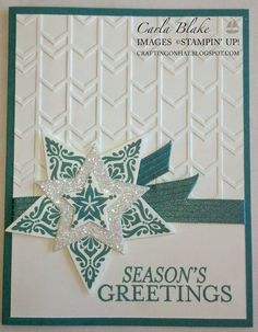 Crafting On Hat: Stampin' Up! Holiday Catalog!!!, Bright Beautiful, Star Framelits, Christmas Card, DIY Handstamped card