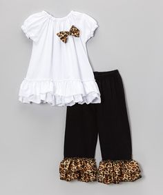 Look at this #zulilyfind! White Ruffle Puff-Sleeve Top & Cheetah Pants - Toddler & Girls by Royal Gem #zulilyfinds