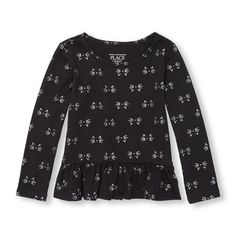 Baby Girls Toddler Long Sleeve Embellished Printed Peplum Top - Black - The Children's Place