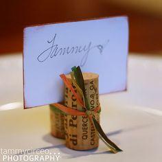 wine cork name card place setting