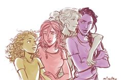 The girls (Hazel Levesque, Piper McLean, Annabeth Chase, and Reyna Ramirez-Arellano)