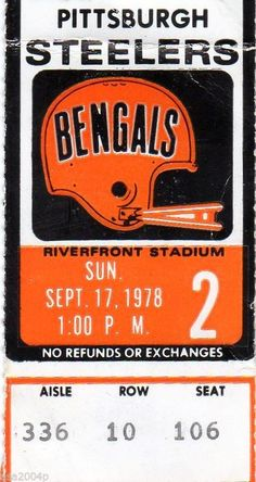Ticket stub from a 1978 Bengals vs. Steelers game at Riverfront Stadium.