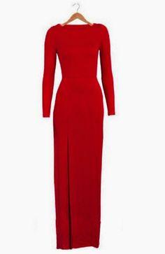 Celebrity Crew Neck High Slit Womens Full Length Maxi Formal Career Pencil Dress