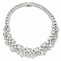 Cheryl M Sterling Silver CZ Fancy 15in Collar Necklace QCM102