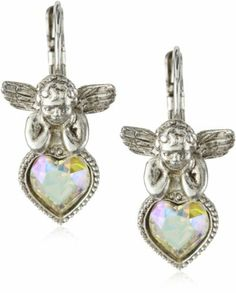 The Vatican Library Collection® Angel Crystal Heart Earrings Vatican Library, Religious Jewelry, Heart Earrings, Belly Button Rings, Angel, Jewels, Crystals, Accessories, Collection