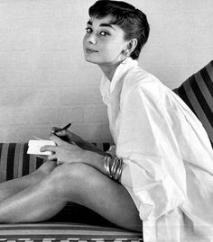 Audrey Hepburn Style Tip: An oversized crisp white button-down adds an instant touch of chic