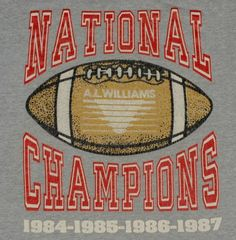 Vintage 1980s AL Williams Football National Champions T-Shirt.  Shirt is in very good pre-owned condition.